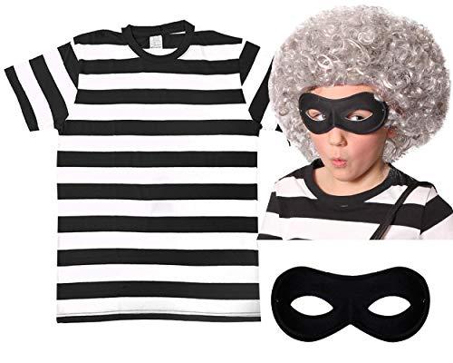 Perücke, Maske und schwarz-weiß gestreiftes Shirt, Motiv: Gangster-Oma, ideal für Literaturwochen in der Schule und zum Weltbüchertag, für Kostümpartys