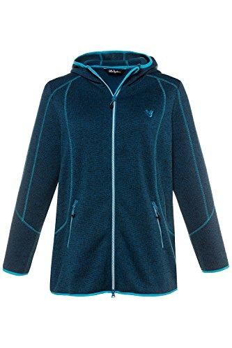 Ulla Popken Femme Grandes tailles | Veste en maille intérieur doublé polaire à capuche col zippé et manches longues | 714628 Bleu Saphir