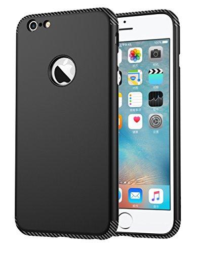 iPhone 6 Plus Hülle, Oceanhome 2 in 1 Hart PC + TPU Case Cover Klassik Sport Schutz Schutzhülle [Stoßdämpfung] Carbon Faser Ladekantenschutz Anti Sturz Smart Phone Case für Apple iPhone 6 Plus 5.5 Hül Schwarz