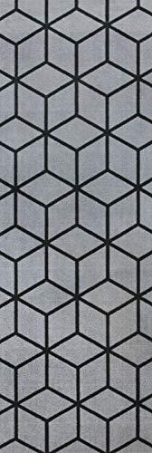 onloom Küchenläufer in graphischen & geometrischen Designs, robust, schadstoffgeprüft, Farbe:Grau, Größe:66 x 120 cm