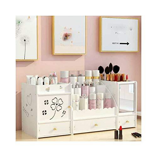 HGRCE Aufbewahrungsboxen Kunststoff Kosmetische Aufbewahrungsbox Home Desktop Schublade Spiegel Kommode Boxen Make-Up Hautpflege Schmuck Lippenstift Regal Veranstalter Fall -