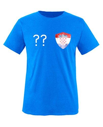 Comedy Shirts - Kroatien Trikot - Wappen: Klein - Wunsch - Kinder T-Shirt - Royalblau / Weiss Gr. 134-146 (Kroatien-fußball-t-shirt)