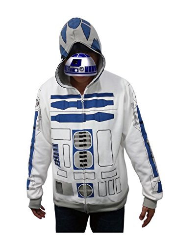 Star Wars I am R2 D2 R2D2 Casual Jacket Cosplay Costume Hoodie Top Shirt Outfit (Outfit R2d2)