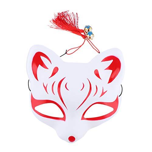 Game Kostüm Japanische Show - Unbekannt Japanisch Cosplay Maske Fuchs Augenmaske Gesichtsmaske mit Quasten und Glocken für Maskeraden Festival Kostüm Party Show - Rot 1