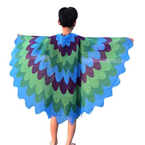 (Hffan Halloween Ostern Schmetterlingsflügel Kostüm Ball Karneval Aktivitäten Anzieh dich Junge Mädchen Tanzumhang Umhang Multicolor Schmetterling(Blau,One size))