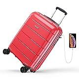 REYLEO, Valigia Rigida da Viaggio con Porta di Ricarica USB, 100% PP di Trolley con Lucchetto TSA,Bagaglio a Mano con 4 Ruote Silenziose e Colori Speciali.(Rosso, 55 cm, 31.5 L) ...