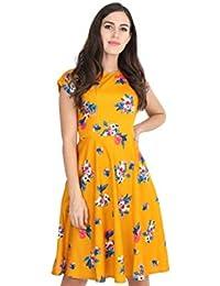 RUDRAKRITI Women Yellow Knee Length Dress