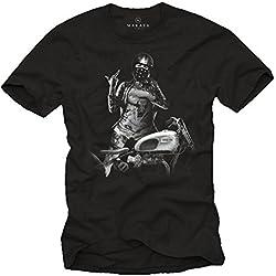 Chica con Casco Jet - Camisetas Originales Hombre con Moto Triumph Negra L