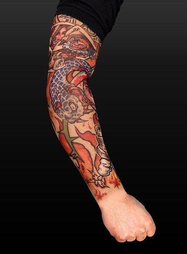 arty Kostüm Player Tattoo Skin Ärmel zum Überziehen (Scharfe Zähne-kostüm)
