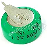 AST Works 1 Pc Ni-MH 80mAh 1.2V Button Rechargeable Battery Backup Power With Tab