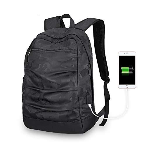 JNFJD Männer Rucksack USB Lade Laptop Rucksack 17 Zoll Für Männer Camo Schwarz Masccline Taschen Reiserucksäcke Große Kapazität Tasche -
