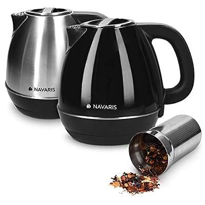 Navaris Bouilloire électrique - Bouilloire 1,2L sans fil 2200W en inox sans BPA avec socle filtre à thé et 7 niveaux température écran digital