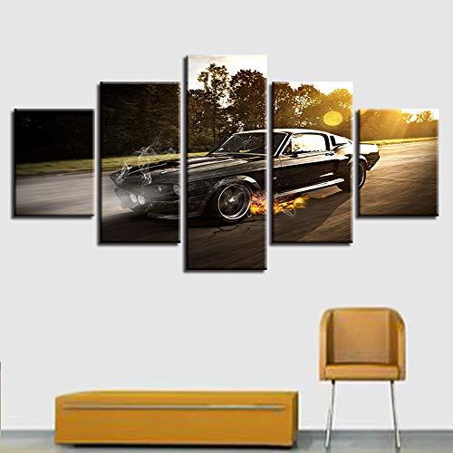 zfkdsd Wandbild Wandkunst Leinwand Malerei 5 Stücke Sonnenuntergang Landschaft Von Cool Black Auto Bild Drucken Wohnkultur Poster Wohnzimmer Modulare (Rahmen)-S -