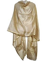 Skhoza Tissue Solid Dupatta for women-Gold colour