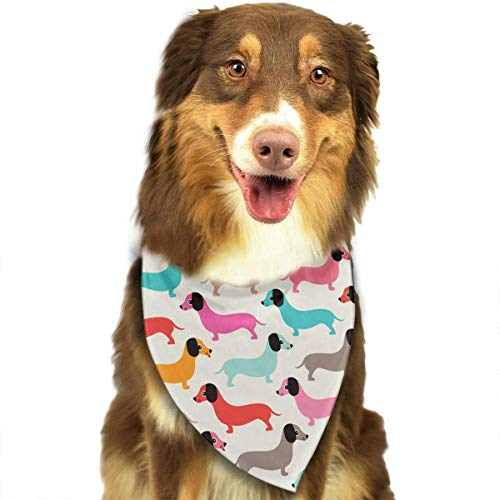 Sdltkhy Retro Style Dachshund Puppy Pattern Triangle Bandana Scarves Accessories for Pet Cats and Dogs - Gifts