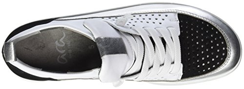 ara Damen Kopenhagen Sneaker Grau (Silber,weiss/schwarz)