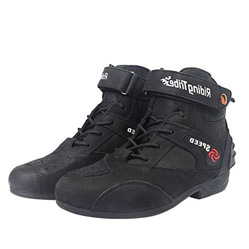 Preisvergleich Produktbild LZLHYH Motorradstiefel Motorrad-Reiten Leichte Atmungsaktiv Fashion Schutz Anti-Drop-Komfort Off-Road-Leder-Schutz Anti-Kollisions Boot Reitschuhe, Schwarz, 45