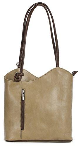 LiaTalia Damen großartige weiche italienische Leder Piping Detail Schulter oder Rucksack Tasche mit Schutztasche - Libby 2018 - (Weiches Leder) - Kamel und Braun