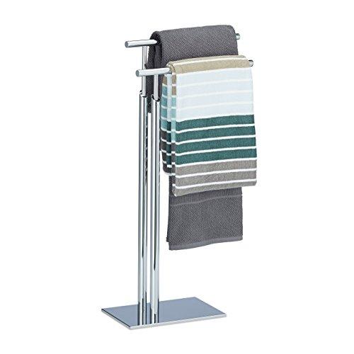 Relaxdays Handtuchhalter stehend PAGNONI, Handtuchständer 2-armig, HBT 78 x 46 x 20 cm, Standhandtuchhalter Chrom, silber