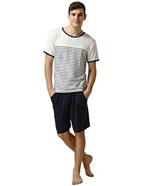 Herren zweiteiliger Schlafanzug Suntasty kurz Baumwolle Pyjama gestreifte Shorty uni Hose Rundhals Nachtwäsche