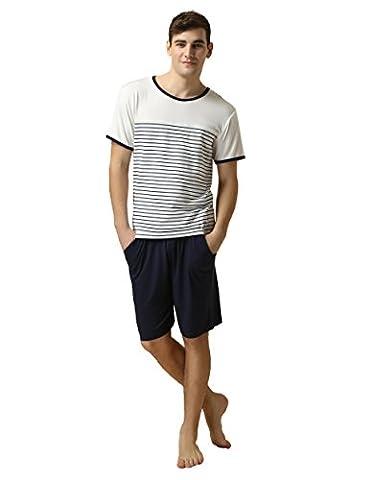 Pyjama Mens Tshirts and Shorts - Suntasty Short Sleeve Nightwear 2 Piece Classic PJ Set Striped Sleepwear Comfy Loungewear (White,M,1012M)