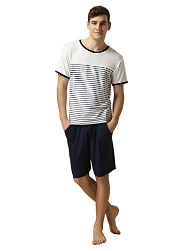 Herren zweiteiliger Schlafanzug Shorty Pyjama-Suntasty kurzer Schlafanzug Baumwolle gestreiftes Oberteil uni Hose Rundhals Anzug Nachtwäsche (Weiß,XL,1012M) (Premium-jugend-hosen)