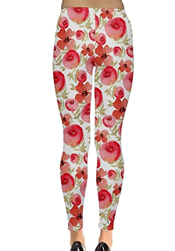 CowCow - Legging - Femme Black and Neon Rouge - Rouge cerise