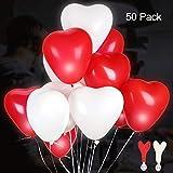 GALUMI LED Herz Luftballons 50 Stück Rot und Weiß Leuchtende Luftballons LED Herzballons für Hochzeit Valentinstag Weihnachten Geburtstag Party Deko
