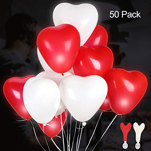 GIGALUMI LED Herz Luftballons 50 Stück Rot und Weiß Leuchtende Luftballons LED Herzballons für Hochzeit Valentinstag Weihnachten Geburtstag Party Deko (Luftballons Mit Herzen)