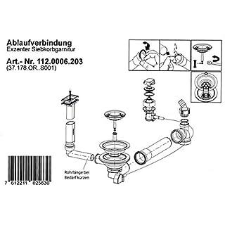 Ab- und Überlaufgarnitur für die FRANKE Diana DIX 684 Einbauspüle OHNE Integralablauf / Ersatzteil Spüle / Ablaufgarnitur