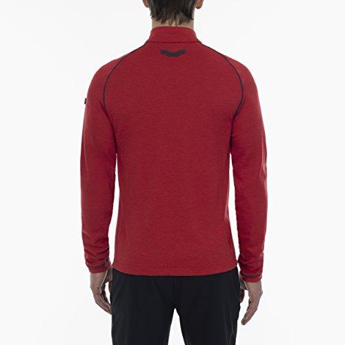 JEEP XP Herren Merino Oberteil 1. Bekleidungsschicht Langärmlig mit Reißverschluss Red Melange