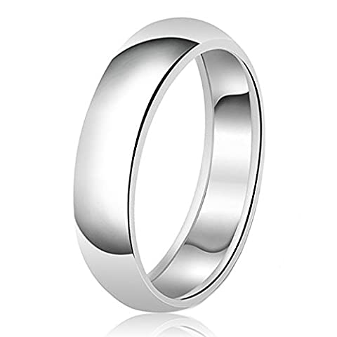 7mm Classic Sterling Silver Plain Wedding Band Ring, Size V 1/2