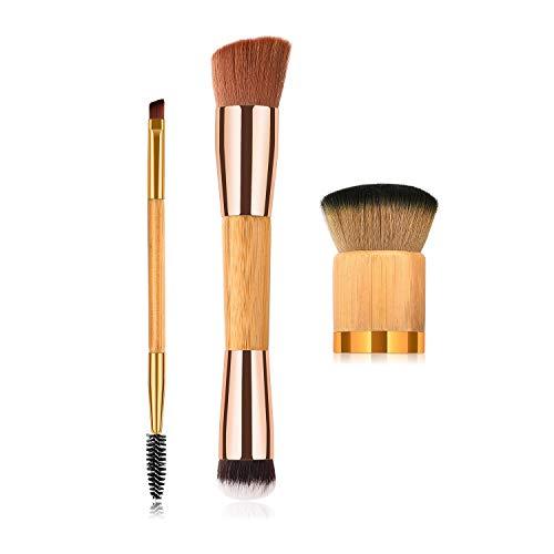 WESEEDOO 3 pièces Œil Visage Set de pinceaux de Maquillage Tête Ronde à Angle Fondation Poudre Pinceau Blush Double tête Sourcil Cil des pinceaux