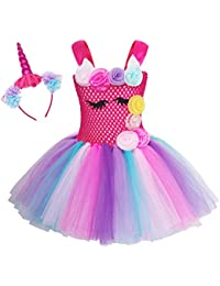 AmzBarley Vestido de tutú de Tul Unicornio de niña Disfraz de Princesa con Unicornio de argolla