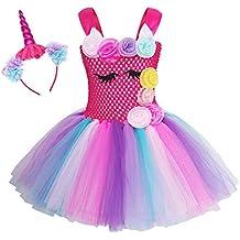 Niña Princesa Vestidos,Disfraz Halloween Bella de Tul Tutú con Argolla de Pelo para Fiesta