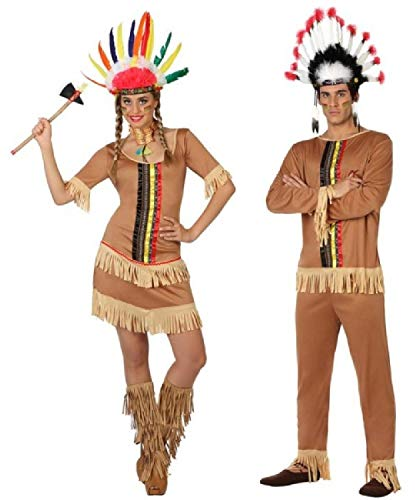 Und Cowboys Paare Indianer Kostüm - Fancy Me Paare Damen & Herren passendes Indianerkostüm Indianer Wild West Cowboys & Indianer Karneval Kostüm Outfits