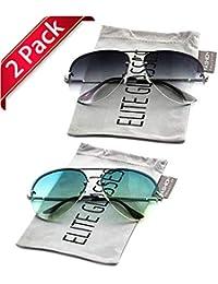 82aa55bba3f Elite Gradient Oceanic Lens Oversized Rimless Metal Frame Unisex Aviator  Sunglasses (2 PACK  Aqua