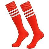 diwollsam Unisex Fußballsocken, Kniestrümpfe, gestreift, Sport Uniformh Team Tube Lange Socken 2 Paar - Rot - Einheitsgröße