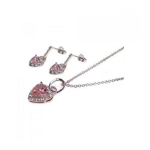 Rhodium beschichtetes Set aus Sterling Silber rosa Herz Zirkonia Ohrhänger & Halskette Set (10k White Gold Rosa Herz Ring)