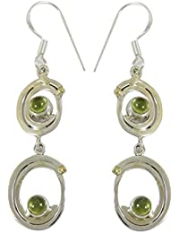 925 Sterling Silver Peridot Stone Dangle Earrings Fashion Indian Jewellery Gift For Her