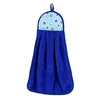 Brussels08 Kitchen Bathroom Hanging Hand Towel Lovely Dish Washcloths Hand Dry Towel with Hanging Loop (Blue)