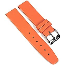 Kids-anti allergic Leather kid´s Watch Band Leather Kalf extra short orange 22501S, width:16mm