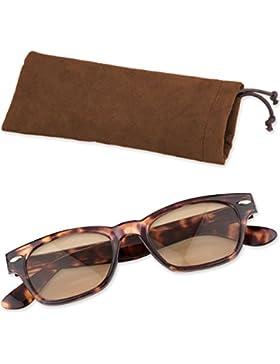 Klassische Lesebrille Lesehilfe mit getönten Gläsern und Brillenetui von + 1,00 bis + 3,00 Dioptrien