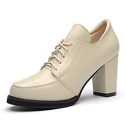 Fanshionable Guciheaven Women's Patent PU Round Mouth Heeled Oxfords Thick Heel