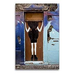Calvendo Premium Textil-Leinwand 60 cm x 90 cm hoch, EIN Motiv aus dem Kalender Türen in Funchal | Wandbild, Bild auf Keilrahmen, Fertigbild auf echter Leinwand, Leinwanddruck Orte Orte