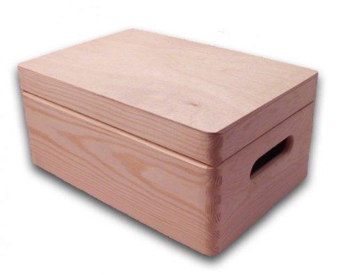 große Aufbewahrungsbox/ Holzkiste mit Deckel und Grifflöchern Kiefer
