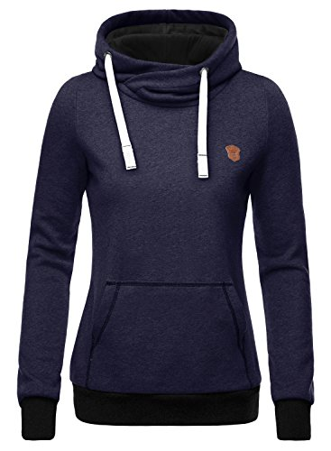 DJT Damen Sweaters Hoodie Sweatshirt Kapuzenpullover Basic Stehkragen Navy L
