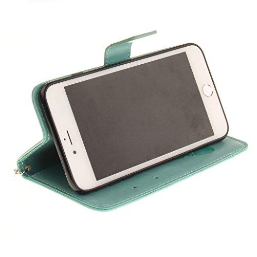 Mo-Beauty® Hülle Für Apple iPhone 7 [4,7 Zoll],iPhone 7 Lederhülle Brieftasche Handy Hülle Case,3D Bär Niedlich Karikatur Muster Leder Hülle Premium Handy Gürtel Tasche Schutzhülle Hülle Case Cover Et Grüne
