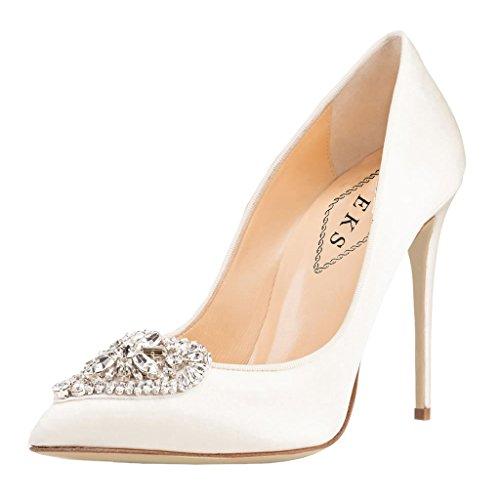 EKS , Chaussures à talons femme Weiß-Suede-10cm