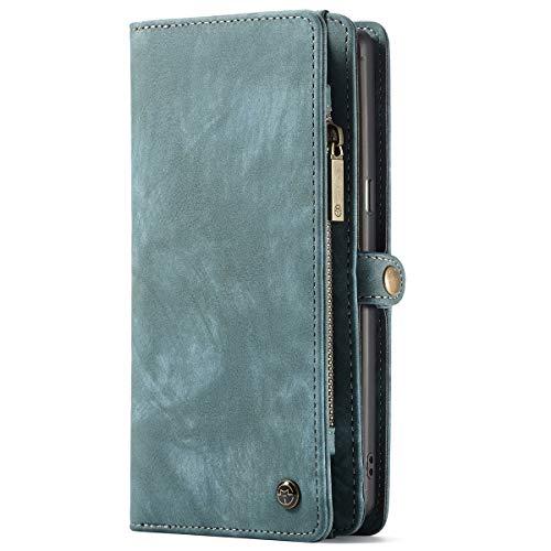 Samsung Galaxy Note 9 Leder Case Handytasche Schale Hülle mit Kredit Kartenfächer Geldscheinfach Geldklammer mit Reißverschluss Magnet Handy Cover Schutzhülle,Blau